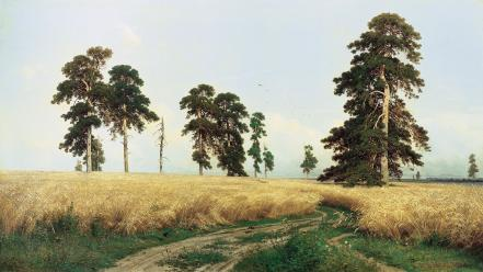 Paintings trees wheat wallpaper