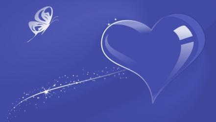 Abstract blue hearts butterflies Wallpaper