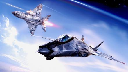 Clouds aircraft outer space military fighters skies wallpaper