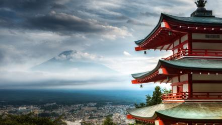 Fuji cityscapes architecture rooftops japanese pagoda chureito wallpaper