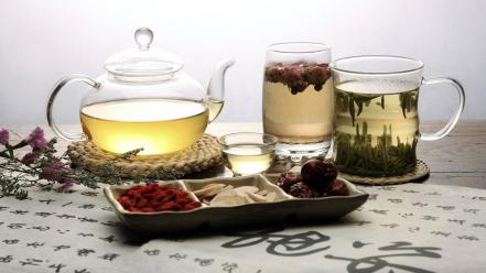 Glass fruits food glasses transparent herbs tea leaves wallpaper