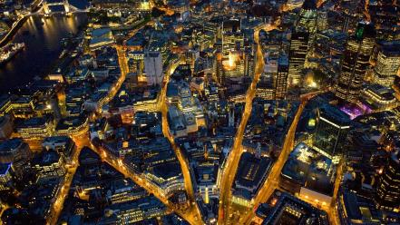 Landscapes nature night england london aerial view wallpaper