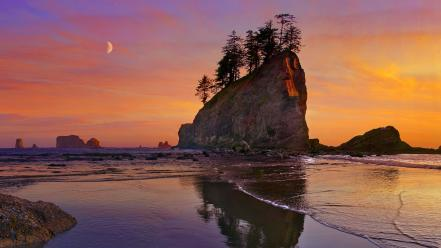 Panorama seascapes national park washington rock formations wallpaper