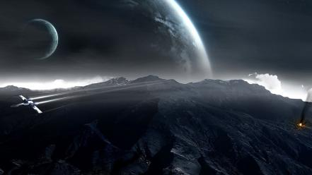 Planets space falling sky wallpaper