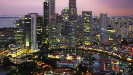 Cityscapes night singapore cities Wallpaper