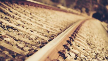 Close-up railroad tracks wallpaper