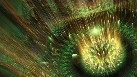 Green fractals digital art raw Wallpaper