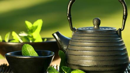 Green japan tea cup Wallpaper