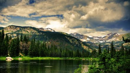 Green water mountains clouds nature forest rivers wallpaper