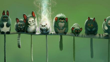Humor funny fantasy art lemurs upscaled Wallpaper