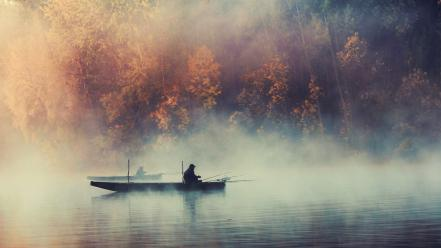 Nature trees fog plants boats fishing lakes Wallpaper