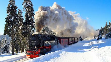 Winter snow trees trains locomotives brockenbahn wallpaper