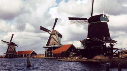 Cityscapes holland windmills view wallpaper