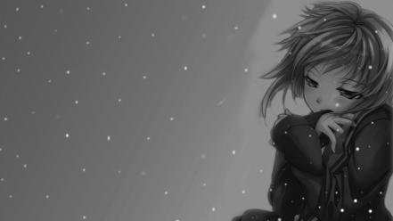 Grayscale anime girls wallpaper