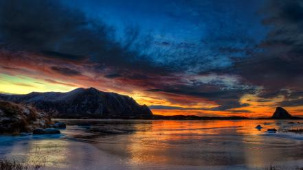 Sunset landscapes norway arctic wallpaper