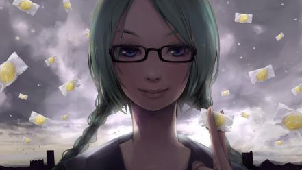 Sweets (candies) green meganekko braids skyscapes faces wallpaper