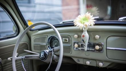 flowers old cars interior volkswagen beetle wallpaper 112462. Black Bedroom Furniture Sets. Home Design Ideas