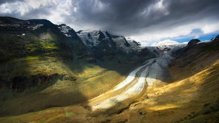 Mountains clouds snow hdr photography wallpaper