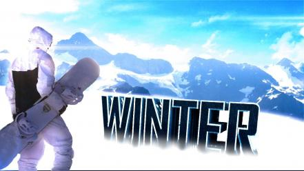 Mountains winter snow cold snowboard wallpaper