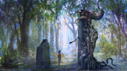 Trees forest fantasy art Wallpaper