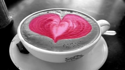 Love facebook coffee timeline cover pink heart wallpaper