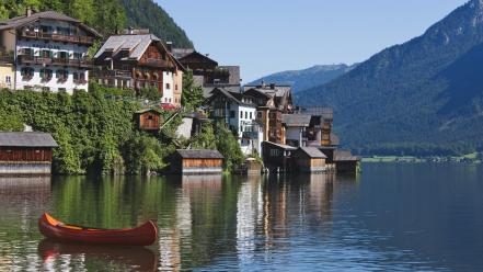 Mountains houses austria lakes canoe hallstatt Wallpaper