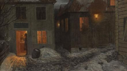 Paintings houses town theodor kittelsen wallpaper