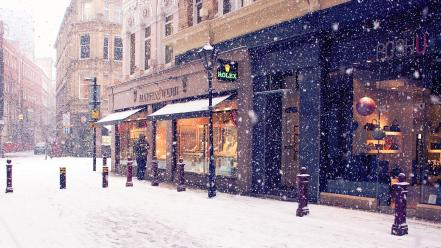 Winter snow streets cities wallpaper