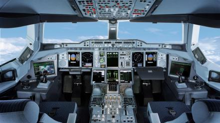 Aircraft cockpit airbus a380-800 aviation wallpaper