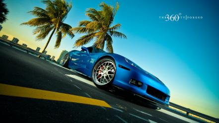Blue cars vehicles corvette three sixty forged wallpaper