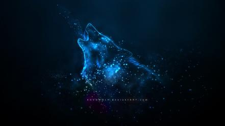 Blue deviantart spirit wolves Wallpaper