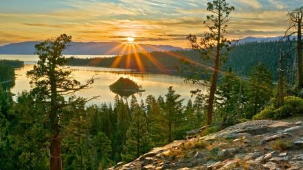 Sunrise lake tahoe sierra wallpaper