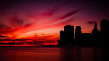 Sunset manhattan city skyline wallpaper