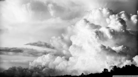 Black and white clouds nature skyscapes wallpaper