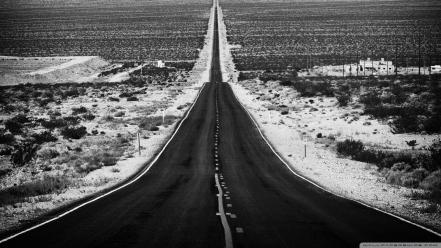 Black and white landscapes nature roads wallpaper
