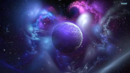 Blue outer space planets nebulae fantasy art artwork wallpaper