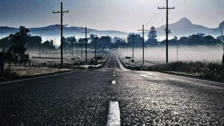 Fog mist roads lines empty skies Wallpaper