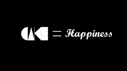 Minimalistic typography happiness cakes cake is a lie wallpaper