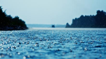 Water blue rain drops ground Wallpaper