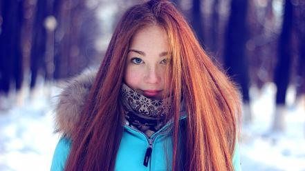 Blue eyes redheads cold long hair freckles wallpaper
