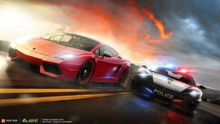 Cars police lamborghini ferrari racing chase wallpaper