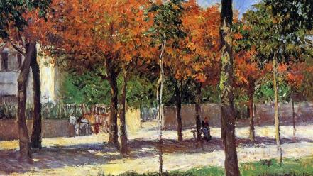 French parks traditional art gustave caillebotte impressionism wallpaper