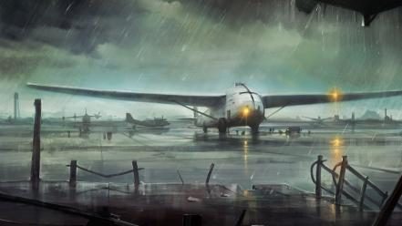 Paintings aircraft lights rain airports artwork aviation railing Wallpaper