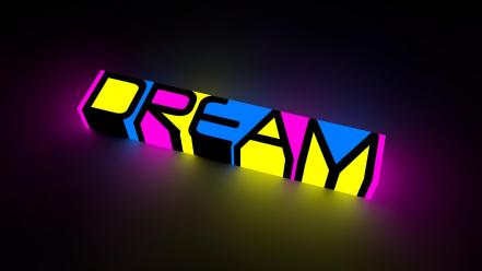 Pink text dreams glow 3d cinema 4d wallpaper