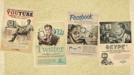 Twitter advertisement website portuguese skype old fashion Wallpaper