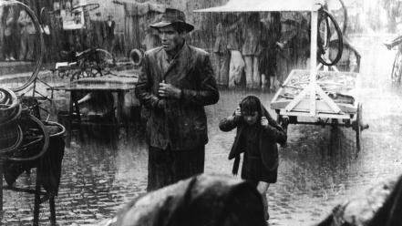 Movies rain monochrome bicycle thieves vittorio de sica wallpaper