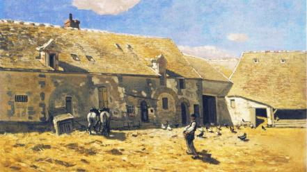 Paintings normandy horses chickens farms claude monet impressionism wallpaper