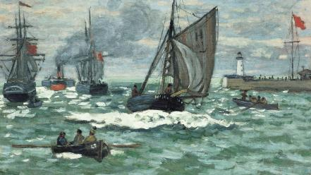 Paintings waves flags boats claude monet impressionism sea wallpaper