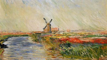 Paintings windmills rivers claude monet impressionism wallpaper