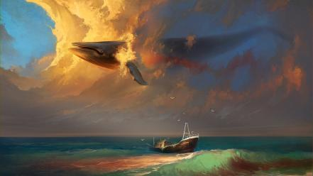 Ships fantasy art whales seagulls artwork sea wallpaper